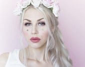 Blush pink and white rose flower crown - goth fairy - flowers - floral headband - boho - flower girl - festival