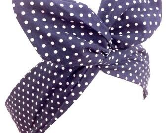 Navy Blue & White Small Polka Dot wire Pin Up Headband Hair Wrap