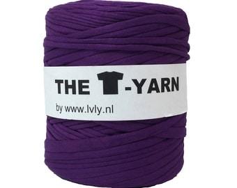 The t-shirt yarn 120-135 yards, 100% recycled cotton tricot yarn, purple