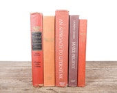Books by Color / Old Books Vintage Books / Decorative Books / Vintage Mixed Book Set / Orange Books / Books for Decor Antique Books