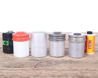 Vintage SLR Film Canister / 4 Metal Film Canisters / Camera Accessory / Kodak Film Case Agfa Canister / Eastman Kodak Camera Decor Set Prop