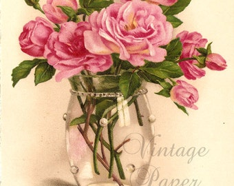 Pink Roses in Glass Vase Antique Vintage French Postcard Chromo Post Card from Vintage Paper Attic