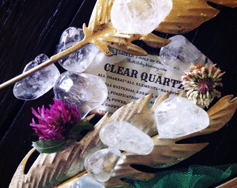 Tumbled CLEAR QUARTZ CRYSTAL - Natural Gemstones - Meditation, Crystal Grids, Magick