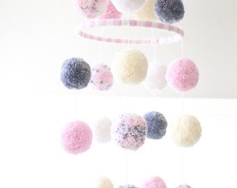 POM POM MOBILE - pink + cream + grey + white + confetti pom pom mobile - darling baby mobile