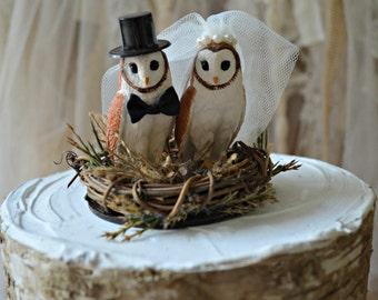 Owls wedding cake topper-Fall wedding-barn wedding-Barn owls cake topper-Rustic cake topper-Rustic wedding-OWLS-snow owls