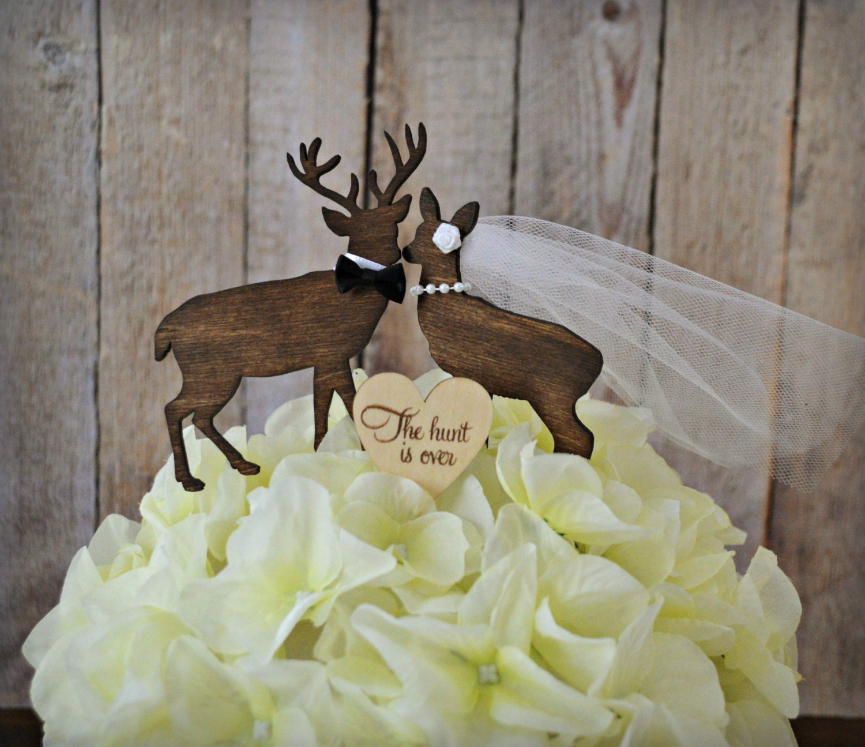 deer wedding cake topper bride groom doe buck wood deer