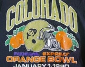 Vintage 90s 1990 University of Colorado Buffaloes Federal Express FedEx Orange Bowl T-Shirt