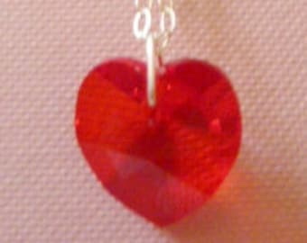 """Siam (red) Swarovski crystal pendant on 16"""" sterling silver chain"""
