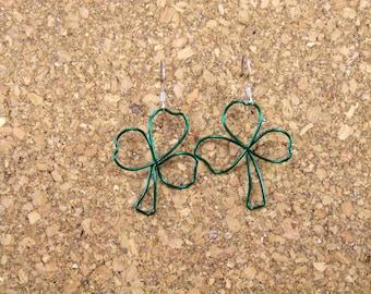 Green Shamrock Wire Earrings