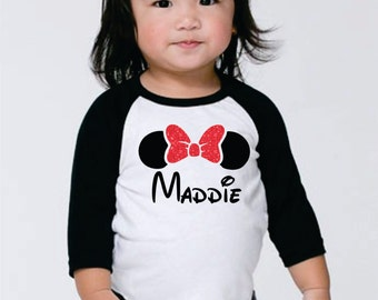 Minnie Mouse Personalized Shirt For Girls - Glitter Disney Raglan Tee with Girl's Name Red Glitter Bow