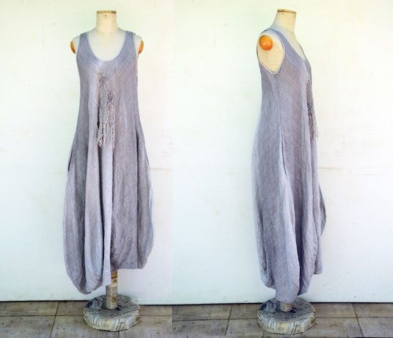 european 100% linen dress M size, hand dyed ombre woman unique fashion design, eco friendly look, asymmetrical, art to wear linen clothing 1