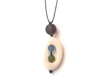 Baby Safe Mom Necklace - Non Toxic Resin Nursing Breastfeeding Necklace - 'Twiddle Buster' - Cream, Olive green, Grey Blue, Coffee Brown