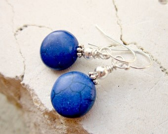 Roayal Blue Turquoise Dangle Earrings. Blue Turquoise Earrings. Medium Blue Howlite Turquoise Drop Earrings. Turquoise Jewelry.Blue Jewelry