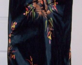 Vintage Ladies Black Floral Print Dress by Tropical Batik One Size Only 10 USD