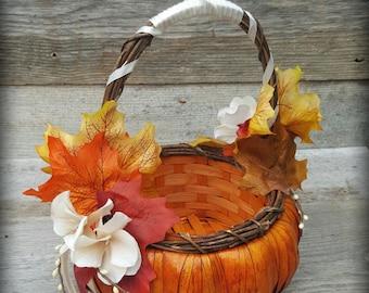 Fall Wedding pumpkin Flower girl Basket autumn ivory & orange