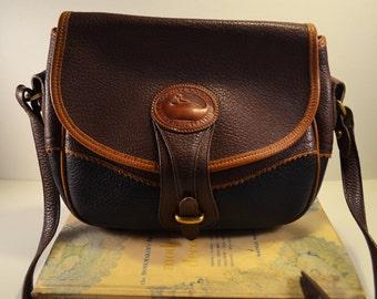 Vintage AWL all weather leather 90s Dooney Teton Tri Color Rare Bag Navy Chocolate Brown Caramel Tan Shoulder Bag rare unique 90s
