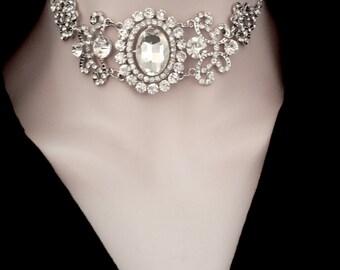 Crystal choker necklace ~ Brides crystal necklace ~ Wedding choker necklace ~ Wedding necklace ~ Statement choker necklace ~ ANGELINA