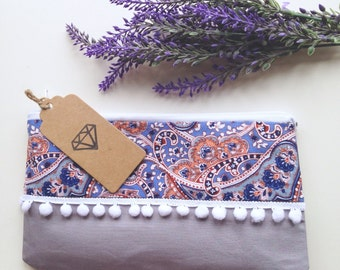 Pom pom patterned paisley pencil case or makeup bag
