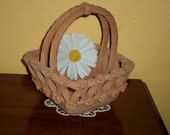 Italian Clay/Hand Made/LATTICE WEAVE BASKET/Small Flowers/Elegant