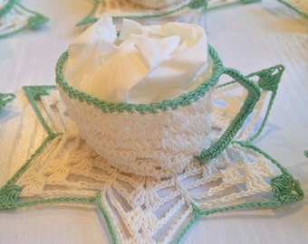 Vintage Teacup Crocheted Nut Cups