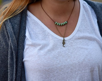 Turquoise & Seahorse Necklace