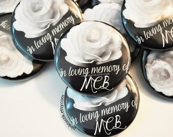 100 + Funeral Buttons, Farewell Buttons, Memorial Button, In Memory of, Custom photo funeral pin, Remembrance badge, Loss of loved one