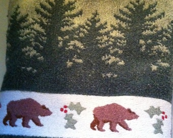 Hand Towels, Bear Trim, North Woods Design, Lightly Used