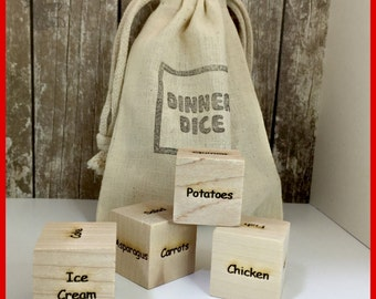 Dinner Dice I  What's for Dinner? I Food Dice Game I Fun with Kids and Couples I Large one inch wood blocks I Custom Wood Engraved Dice
