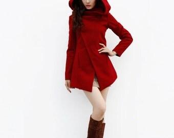 Wine Red Hooded Coat / Asymmetric Jacket / Unique Women Coat / Winter Wool Coat - Custom Made - NC643