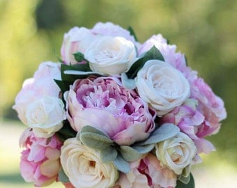 Romantic wedding bouquet. Peony and rose bouquet.  Shabby chic wedding bouquet for Bride or Bridesmaid.