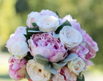 Romantic wedding bouquet. Peony and rose bouquet.  Shabby chic wedding bouquet for Bride or Bridesmaid.