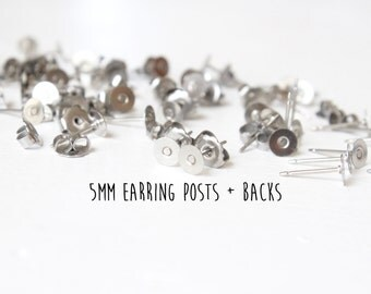 1000 pieces - 500 pair - 5mm - Stainless Steel - Flat Pad - Earring Posts and Butterfly Nut Backs