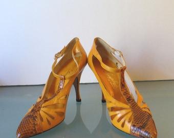 Vintage Scruples By Emenghi Leather & Snake Skin  Heels 6M