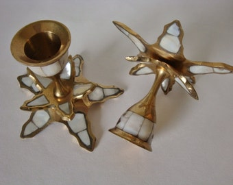 Vintage Brass  and  Mother of Pearl Inlay Candle Sticks *Last Chance Sale