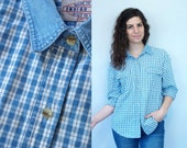 1990s Vintage Denim Chambray Blue & White Plaid Checked Tartan Collared Button-Down Long Sleeve Oxford Blouse Shirt w/ Blue Jean Collar / L