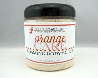 Orange Cake Foaming Body Scrub, Sugar Scrub, Body Scrub, Orange, Cake