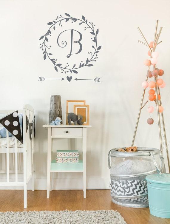 Monogram Wall Decal Baby Girl Nursery Wall Decal Wreath - Wall decals baby girl