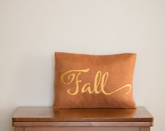Fall Pillow Covers - Orange Home Decor - Fall Pillow - Embroidered Saying