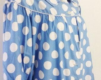 Polka Dot 1950's Cotton Housecoat
