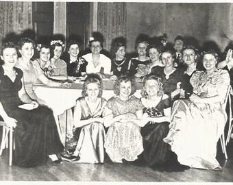"Vintage Snapshot ""Dark Shadows"" Evening Gowns Sorority Girlfriends Eerie Lighting Found Photo"