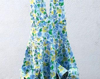 girls halter apron dress vintage 50s