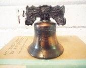 Vintage Liberty bell copper, desk bell, hand bell, teacher's bell, americana, american history, history teacher gift