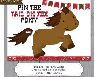 Pin the Tail On the Pony Printable Party Game - Pin the Tail on the Horse - Western Party Game - Cowboy Party Game - Barnyard Party Game