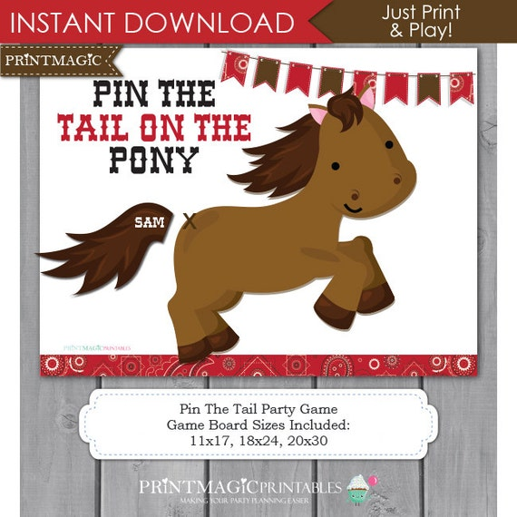 Pin the tail on the pony printable party game pin the tail for Pin the tail on the dinosaur template