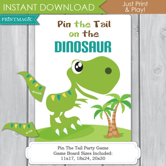 Pin the tail on the dinosaur printable birthday party game for Pin the tail on the dinosaur template