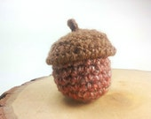 Rustic Acorn Treasure Basket, Crochet Woodland Trinket Bowl, Handmade One of a Kind Decorative Container