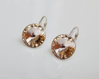 Silk Swarovski crystal silver 925 dangle leverback earrings Round rhinestone dangle earrings Bridesmaids crystal dangle earrings silver