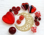 Red hearts beads soup, Red and gold, flower beads mix, czech glass, spacers, different shapes - BB13