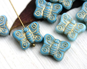 Butterfly beads, Turquoise blue beads mix, golden inlays, gold washed, czech glass, blue butterflies - 8pc - 2429