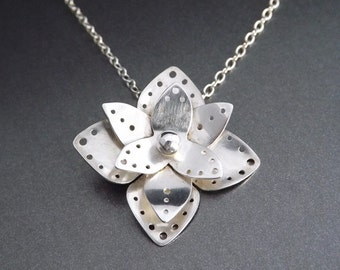On Sale! Silver Flower Pendant - OOAK Handcrafted Nature Inspired Jewelry, Sterling Flower